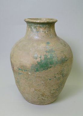 <em>Large Jar</em>, 12th-13th century. Glazed pottery, Rakka Ware, 16 5/16 x 12 13/16 in. (41.5 x 32.5 cm). Brooklyn Museum, Gift of Mary T. Cockcroft, 42.109.2. Creative Commons-BY (Photo: Brooklyn Museum, CUR.42.109.2.jpg)