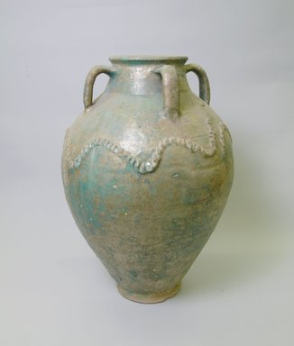 <em>Large Jar</em>, 12th-13th century. Glazed pottery, Rakka Ware, 19 3/4 x 13 11/16 in. (50.2 x 34.7 cm). Brooklyn Museum, Gift of Mary T. Cockcroft, 42.109.3. Creative Commons-BY (Photo: Brooklyn Museum, CUR.42.109.3_view1.jpg)