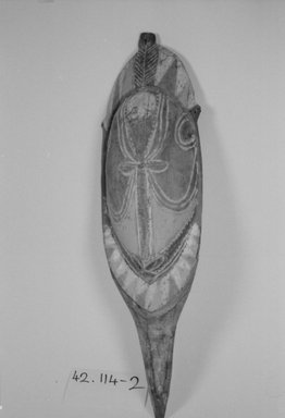 Chambri. <em>Lime Container Ornament</em>. Carved wood, 2 3/8 x 17 5/16 in. (6 x 44 cm). Brooklyn Museum, By exchange, 42.114.4. Creative Commons-BY (Photo: Brooklyn Museum, CUR.42.114.4_bw.jpg)