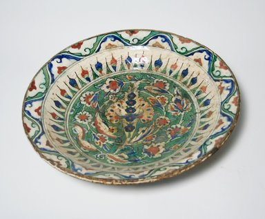 <em>Plate</em>, 17th century. Ceramic, 3 1/16 x 15 3/16 in. (7.7 x 38.5 cm). Brooklyn Museum, Gift of Mrs. Horace O. Havemeyer, 42.212.34. Creative Commons-BY (Photo: Brooklyn Museum, CUR.42.212.34_top.jpg)