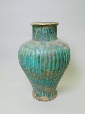 <em>Vase</em>, 13th century. Ceramic, buff body, black underglaze, opaque turquoise glaze, 18 3/4 x 12 5/8 in. (47.7 x 32 cm). Brooklyn Museum, Gift of Mrs. Horace O. Havemeyer, 42.212.40. Creative Commons-BY (Photo: Brooklyn Museum, CUR.42.212.40.jpg)