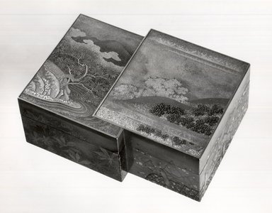 <em>Small Box and Cover</em>, 1650. lacquer, 1 5/8 x 3 1/16 x 4 in. (4.1 x 7.7 x 10.2 cm). Brooklyn Museum, Gift of Mrs. Horace O. Havemeyer, 42.212.51a-b. Creative Commons-BY (Photo: Brooklyn Museum, CUR.42.212.51a-b_bw.jpg)