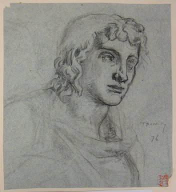 John La Farge (American, 1835-1910). <em>Head</em>, 1876. Graphite on blue paper mounted to cardstock, Sheet: 6 3/4 x 6 1/8 in. (17.1 x 15.6 cm). Brooklyn Museum, Augustus Graham School of Design Fund, 42.251 (Photo: Brooklyn Museum, CUR.42.251.jpg)