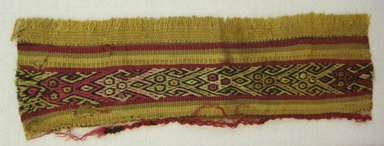 Possibly Chancay. <em>Textile, Border Fragment</em>, ca. 1000-1532 C.E. Cotton, camelid fiber, 7 15/16 x 2 3/8 in.  (20.2 x 6.0 cm). Brooklyn Museum, Gift of Daniel Berry Austin, 42.26.13. Creative Commons-BY (Photo: Brooklyn Museum, CUR.42.26.13.jpg)