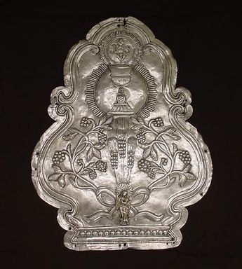 <em>Plaque From Tabernacle or Altar Door</em>. Metal; silver, 19 1/2 x 15 x 1/2 in. Brooklyn Museum, Ella C. Woodward Memorial Fund, 42.335. Creative Commons-BY (Photo: Brooklyn Museum, CUR.42.335.jpg)