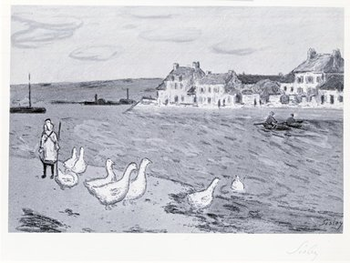 Alfred Sisley (British, active France, 1839-1899). <em>Bords de Riviere, or Les Oies</em>, 1897. Lithograph on paper, 8 3/8 x 12 5/8 in. (21.2 x 32 cm). Brooklyn Museum, Frank L. Babbott Fund, 42.343 (Photo: Brooklyn Museum, CUR.42.343.jpg)