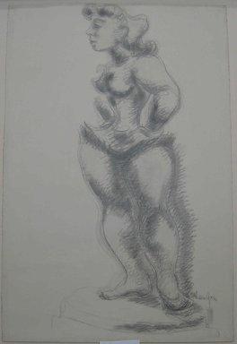 Chaim Gross (American, born Austria, 1904-1991). <em>Study No. 2 for Ballerina</em>, ca. 1940. Graphite on paper, Sheet: 38 x 25 5/16 in. (96.5 x 64.3 cm). Brooklyn Museum, Designated Purchase Fund, 42.417. © artist or artist's estate (Photo: Brooklyn Museum, CUR.42.417.jpg)