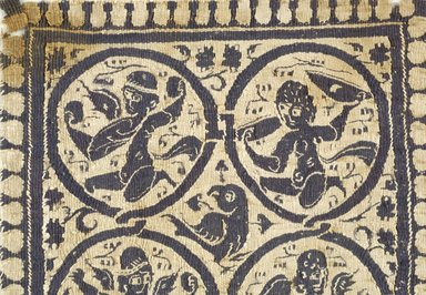 Coptic. <em>Square Fragment with Figural, Animal, and Botanical Decoration</em>, 8th century C.E. Flax, wool, 7 1/2 x 7 1/2 in. (19 x 19 cm). Brooklyn Museum, Gift of Pratt Institute, 42.438.3. Creative Commons-BY (Photo: Brooklyn Museum (in collaboration with Index of Christian Art, Princeton University), CUR.42.438.3_detail01_ICA.jpg)