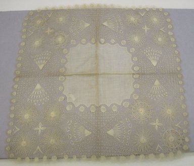 <em>Handkerchief</em>. Cotton?, 15 1/2 × 15 9/16 in. (39.4 × 39.5 cm). Brooklyn Museum, Gift of Mrs. Howard M. Morse, 42.61. Creative Commons-BY (Photo: Brooklyn Museum, CUR.42.61.jpg)