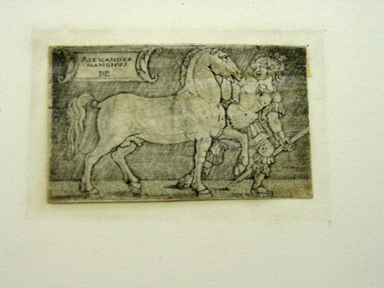 Hans Sebald Beham (German, 1500-1550). <em>Alexander the Great Leading Bucephalos</em>, n.d. Etching, Image: 1 3/4 x 2 7/8 in. (4.4 x 7.3 cm). Brooklyn Museum, Gift of J. Oettinger, 43.117.12 (Photo: , CUR.43.117.12_view01.jpg)