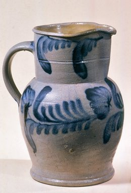 Richard C. Remmey (American). <em>Pitcher</em>, ca. 1872. Stoneware, 10 3/4 x 8 7/8 x 7 1/4 in. (27.3 x 22.5 x 18.4 cm). Brooklyn Museum, Gift of Arthur W. Clement, 43.128.188. Creative Commons-BY (Photo: Brooklyn Museum, CUR.43.128.188_view2.jpg)