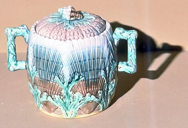 American. <em>Sugarbowl, Majolica</em>. Brooklyn Museum, Gift of Arthur W. Clement, 43.128.50. Creative Commons-BY (Photo: Brooklyn Museum, CUR.43.128.50.jpg)