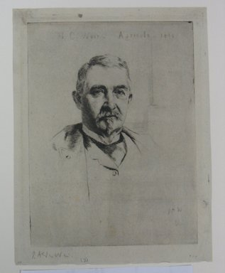 Julian Alden Weir (American, 1852-1919). <em>Portrait of Colonel H. C. Weir, Agricola, 1890</em>, 1890. Drypoint on grey laid paper, Sheet: 9 1/16 x 6 15/16 in. (23 x 17.6 cm). Brooklyn Museum, Anonymous gift, 43.170.15 (Photo: Brooklyn Museum, CUR.43.170.15.jpg)