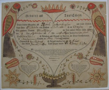 Unknown. <em>Pennsylvania-Dutch Birth Certificate for Matthew Linkzenbigler</em>, 1809. Woodcut with hand-painted decorations and inscriptions in ink and watercolor on paper, sheet: 12 3/8 x 15 1/4 in. (31.4 x 38.7 cm). Brooklyn Museum, Gift of Cornelius O'Conner, 43.175 (Photo: Brooklyn Museum, CUR.43.175.jpg)