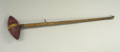 Plains. <em>Hammer</em>, 19th century. Catlinite, rawhide, wood, height: 24 7/16 in. (62.1 cm); width of hammer stone: 4 3/4 in. (12.1 cm). Brooklyn Museum, Anonymous gift in memory of Dr. Harlow Brooks, 43.201.131. Creative Commons-BY (Photo: Brooklyn Museum, CUR.43.201.131.jpg)