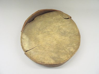 Native American. <em>Hand Drum</em>, 19th century. Hide, wood, silk, height: 3 3/8 in. (8.6 cm). Brooklyn Museum, Anonymous gift in memory of Dr. Harlow Brooks, 43.201.136. Creative Commons-BY (Photo: Brooklyn Museum, CUR.43.201.136_view1.jpg)