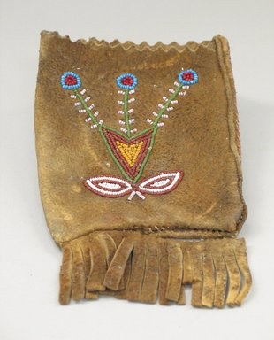Montagnais. <em>Small Rectangular Bag</em>, 20th century. Tanned hide, beads, 7 1/16 x 4 5/16 in. (18 x 11 cm). Brooklyn Museum, Anonymous gift in memory of Dr. Harlow Brooks, 43.201.14. Creative Commons-BY (Photo: Brooklyn Museum, CUR.43.201.14.jpg)