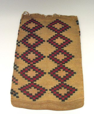 Nez Perce. <em>Twined Weave Large Rectangular Bag</em>, 20th century. Indian hemp, corn husk, 22 1/16 x 16 1/8 in.  (56 x 41 cm). Brooklyn Museum, Anonymous gift in memory of Dr. Harlow Brooks, 43.201.17. Creative Commons-BY (Photo: Brooklyn Museum, CUR.43.201.17_view1.jpg)