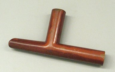 Plains. <em>Pipe</em>, 19th century. Catlinite (pipestone), 6 7/8 x 3 9/16 in. (17.5 x 9 cm). Brooklyn Museum, Anonymous gift in memory of Dr. Harlow Brooks, 43.201.236. Creative Commons-BY (Photo: Brooklyn Museum, CUR.43.201.236.jpg)
