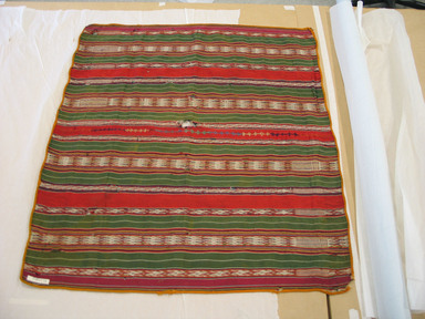 Possbily Quechua. <em>Mantle</em>, late 19th to early 20th century. Cotton, camelid fiber, 37 11/16 x 35 1/16 in. (95.8 x 89 cm). Brooklyn Museum, Anonymous gift in memory of Dr. Harlow Brooks, 43.201.272. Creative Commons-BY (Photo: Brooklyn Museum, CUR.43.201.272.jpg)