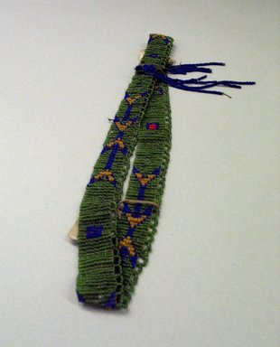 Plains (Central). <em>Woven, Beadwork Necklace</em>, 1900-1950. Beads, cotton thread, width: 7/8 in. (2.2 cm); length: 22 1/2 in. (57.2 cm). Brooklyn Museum, Anonymous gift in memory of Dr. Harlow Brooks, 43.201.47. Creative Commons-BY (Photo: Brooklyn Museum, CUR.43.201.47_view1.jpg)