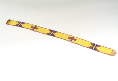 Sioux. <em>Woven, Beaded Headband</em>, 1900-1940. Beads, hide, string, 25 x 1 5/8 in. (63.5 x 4.1 cm). Brooklyn Museum, Anonymous gift in memory of Dr. Harlow Brooks, 43.201.54. Creative Commons-BY (Photo: Brooklyn Museum, CUR.43.201.54_view1.jpg)