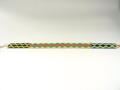 Plains. <em>Woven, Beadwork Headband</em>, early 20th century. Beads, silk, cotton thread, 21 5/8 x 1 3/8 in. (54.9 x 3.5 cm). Brooklyn Museum, Anonymous gift in memory of Dr. Harlow Brooks, 43.201.55. Creative Commons-BY (Photo: Brooklyn Museum, CUR.43.201.55.jpg)
