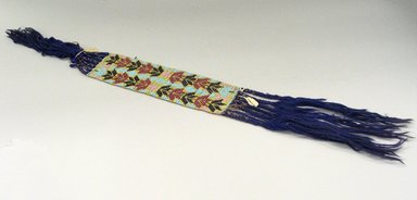 Possibly Hochunk. <em>Strip of Woven Beadwork</em>, early 20th century. Beads, wool, 30 11/16 x 3 1/8 in. (77.9 x 7.9 cm). Brooklyn Museum, Anonymous gift in memory of Dr. Harlow Brooks, 43.201.60. Creative Commons-BY (Photo: Brooklyn Museum, CUR.43.201.60_view1.jpg)