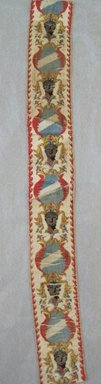 <em>Galloon Fragment</em>, 18th century. Silk and linen, 2 1/2 x 22 1/4 in. (6.4 x 56.5 cm). Brooklyn Museum, 43.215.29 (Photo: Brooklyn Museum, CUR.43.215.29.jpg)