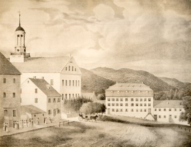 Gustavus Grunewald (American, active 1832-1850). <em>Young Ladies' Seminary and Church</em>. Lithograph, hand colored Brooklyn Museum, 43.240 (Photo: Brooklyn Museum, CUR.43.240.jpg)