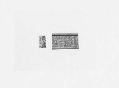 Ancient Near Eastern. <em>Cylinder Seal</em>, 16th-14th century B.C.E. Hematite, 11/16 x Diam. 3/8 in. (1.7 x 0.9 cm). Brooklyn Museum, Charles Edwin Wilbour Fund, 44.123.180. Creative Commons-BY (Photo: Brooklyn Museum, CUR.44.123.180_NegA_print_bw.jpg)