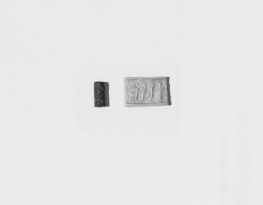 Ancient Near Eastern. <em>Cylinder Seal</em>, late 15th century B.C.E. Faience, 5/8 x Diam. 1/4 in. (1.6 x 0.7 cm). Brooklyn Museum, Charles Edwin Wilbour Fund, 44.123.181. Creative Commons-BY (Photo: Brooklyn Museum, CUR.44.123.181_NegA_print_bw.jpg)