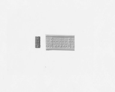 Ancient Near Eastern. <em>Cylinder Seal</em>, 18th century B.C.E. Hematite, 11/16 x Diam. 1/4 in. (1.7 x 0.6 cm). Brooklyn Museum, Charles Edwin Wilbour Fund, 44.123.182. Creative Commons-BY (Photo: Brooklyn Museum, CUR.44.123.182_NegA_print_bw.jpg)
