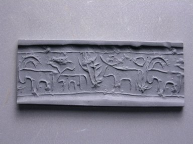 <em>Cylinder Seal</em>, ca. 4400-2675 B.C.E. Steatite, 13/16 x 5/8 in. (2.1 x 1.6 cm). Brooklyn Museum, Charles Edwin Wilbour Fund, 44.123.2. Creative Commons-BY (Photo: Brooklyn Museum, CUR.44.123.2_impression.jpg)