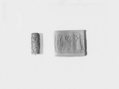 Ancient Near Eastern. <em>Cylinder Seal</em>, ca. 15th-14th century B.C.E. Steatite, glaze, 1 x Diam. 3/8 in. (2.6 x 1 cm). Brooklyn Museum, Charles Edwin Wilbour Fund, 44.123.41. Creative Commons-BY (Photo: Brooklyn Museum, CUR.44.123.41_NegA_print_bw.jpg)