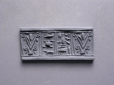 <em>Cylinder Seal</em>. Faience, 11/16 x 5/16 in. (1.7 x 0.8 cm). Brooklyn Museum, Charles Edwin Wilbour Fund, 44.123.47. Creative Commons-BY (Photo: Brooklyn Museum, CUR.44.123.47_impression.jpg)