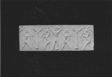 Ancient Near Eastern. <em>Cylinder Seal</em>, end of 2nd millennium-beginning of 1st millennium B.C.E. Bone, 13/16 x Diam. 7/16 in. (2.1 x 1.1 cm). Brooklyn Museum, Charles Edwin Wilbour Fund, 44.123.49. Creative Commons-BY (Photo: Brooklyn Museum, CUR.44.123.49_NegE_print_bw.jpg)