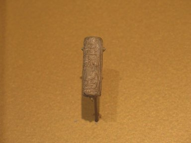 <em>Cylinder Seal of Amenemhat II</em>, ca. 1876-1842 B.C.E. Steatite, glaze, 1 3/16 x 3/8 in. (3 x 0.9 cm). Brooklyn Museum, Charles Edwin Wilbour Fund, 44.123.52. Creative Commons-BY (Photo: Brooklyn Museum, CUR.44.123.52_erg2.jpg)