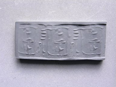 <em>Cylindrical Bead</em>. Steatite, glaze, 1/2 x 3/16 in. (1.2 x 0.4 cm). Brooklyn Museum, Charles Edwin Wilbour Fund, 44.123.60. Creative Commons-BY (Photo: Brooklyn Museum, CUR.44.123.60_impression.jpg)