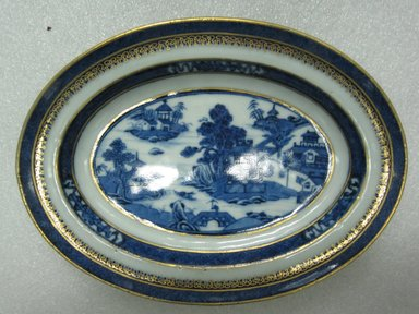 Lowestoft Porcelain Factory. <em>Sauce Dish</em>, late 18th century. Nankeen ware porcelain, Assembled: 6 11/16 x 8 9/16 x 6 5/16 in. (17 x 21.7 x 16 cm). Brooklyn Museum, Gift of Sarah D. Gardiner, 44.139.5a-c. Creative Commons-BY (Photo: Brooklyn Museum, CUR.44.139.5a_top.jpg)