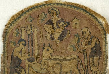 Coptic. <em>Roundel</em>, 5th century C.E. Linen, wool, 4 13/16 x Diam. 4 5/16 in. (12.2 x 10.9 cm). Brooklyn Museum, Charles Edwin Wilbour Fund, 44.143b. Creative Commons-BY (Photo: Brooklyn Museum (in collaboration with Index of Christian Art, Princeton University), CUR.44.143B_detail01_ICA.jpg)