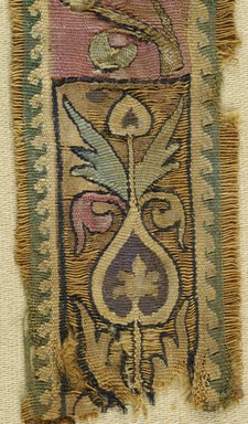 Coptic. <em>Band Fragment with Figural, Animal, and Botanical Decoration</em>, 5th century C.E. Flax (?), wool (?), 6 1/2 x 1 3/4 in. (16.5 x 4.4 cm). Brooklyn Museum, Charles Edwin Wilbour Fund, 44.143e. Creative Commons-BY (Photo: Brooklyn Museum (in collaboration with Index of Christian Art, Princeton University), CUR.44.143E_detail01_ICA.jpg)