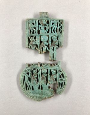 <em>Openwork Menat</em>, ca. 800 B.C.E. or later. Faience, 44.159.2a: 2 11/16 x 2 3/16 in. (6.9 x 5.5 cm). Brooklyn Museum, Gift of Spink and Son, Ltd., 44.159.2. Creative Commons-BY (Photo: , CUR.44.159.2a-b_view01.JPG)