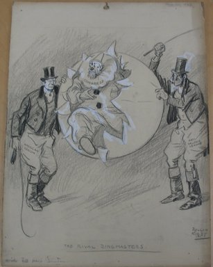 Rollin Kirby (American, 1875-1952). <em>The Rival Ringmasters</em>, 1922. Charcoal and gouache over graphite on paperboard, sheet: 19 15/16 x 14 15/16 in. (50.6 x 37.9 cm). Brooklyn Museum, Gift of the artist, 44.8.9 (Photo: Brooklyn Museum, CUR.44.8.9.jpg)