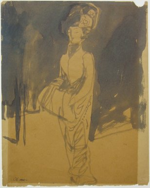 Carl Sprinchorn (American, 1887-1971). <em>Standing Woman with Muff</em>, 1911. Ink wash on wove paper, Sheet: 10 x 7 15/16 in. (25.4 x 20.2 cm). Brooklyn Museum, Gift of Ettie Stettheimer, 45.117 (Photo: Brooklyn Museum, CUR.45.117.jpg)