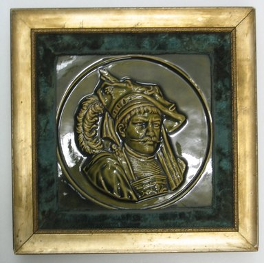 American Encaustic Tile Company Ltd. (1875-1935). <em>Tile</em>, 1885. Glazed earthenware, gilt wood, velvet, 8 3/8 x 8 1/16 in. (21.3 x 20.5 cm). Brooklyn Museum, Gift of Louis C. Garth, 45.139.4 (Photo: Brooklyn Museum, CUR.45.139.4.jpg)