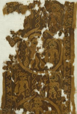 Coptic. <em>Fragment with Figural and Animal Decoration</em>, 6th century C.E. Linen, wool, 8 x 16 in. (20.3 x 40.6 cm). Brooklyn Museum, Gift of John D. Cooney, 45.142. Creative Commons-BY (Photo: Brooklyn Museum (in collaboration with Index of Christian Art, Princeton University), CUR.45.142_detail01_ICA.jpg)