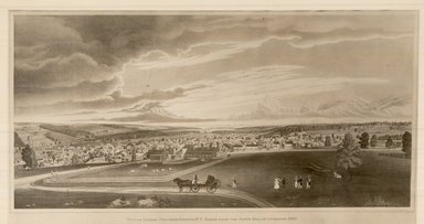 Henry Walton (American, 1820-1873). <em>East View of Ithaca</em>, 1837. Lithograph, semi hand coloring on wove paper, 11 3/4 x 25 5/8 in. (29.9 x 65.1 cm). Brooklyn Museum, Dick S. Ramsay Fund, 45.144 (Photo: Brooklyn Museum, CUR.45.144.jpg)