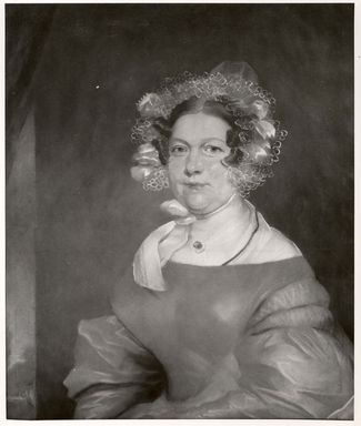 American. <em>Mrs. Matthew Clarkson Jr.</em>, ca. 1835. Pastel on paper mounted on fabric attached to stretcher, 29 1/2 x 25 in. (74.9 x 63.5 cm). Brooklyn Museum, Gift of Luke Vincent Lockwood, 45.170.2 (Photo: Brooklyn Museum, CUR.45.170.2.jpg)