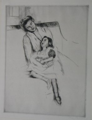Mary Cassatt (American, 1844-1926). <em>Jeanette and Her Mother on the Sofa</em>, ca. 1902. Drypoint on laid paper, Sheet: 19 3/4 x 15 3/8 in. (50.2 x 39.1 cm). Brooklyn Museum, Bequest of Mary T. Cockcroft, 46.107 (Photo: Brooklyn Museum, CUR.46.107.jpg)